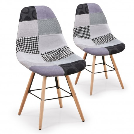 Chaise Patchwork Gris - Lot de 2 pas cher