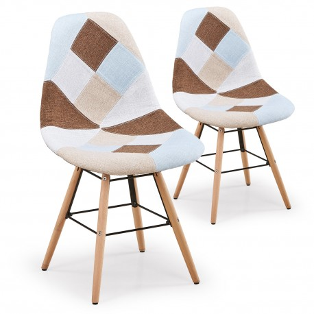 Chaise Patchwork Beige - Lot de 2 pas cher