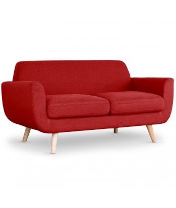 Canapé scandinave rouge 2 places tissu Karina
