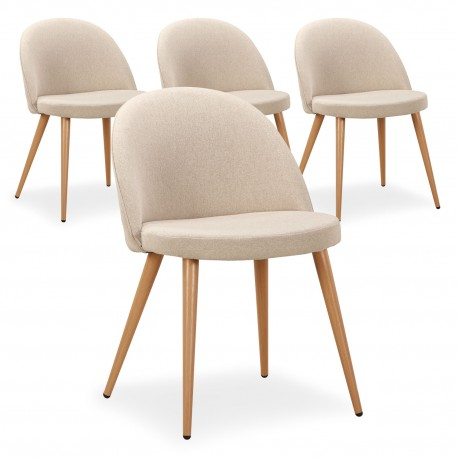 Chaise Scandinave Beige Fifthy - Lot de 4 pas cher