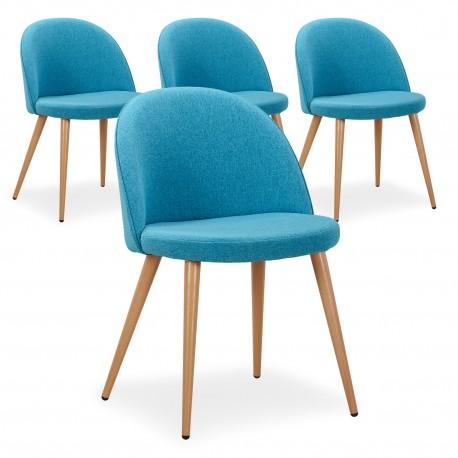 Chaise Scandinave Bleu Canard Fifthy - Lot de 4 pas cher