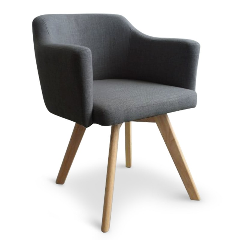 fauteuil scandinave gris en tissu rigo pas cher. Black Bedroom Furniture Sets. Home Design Ideas