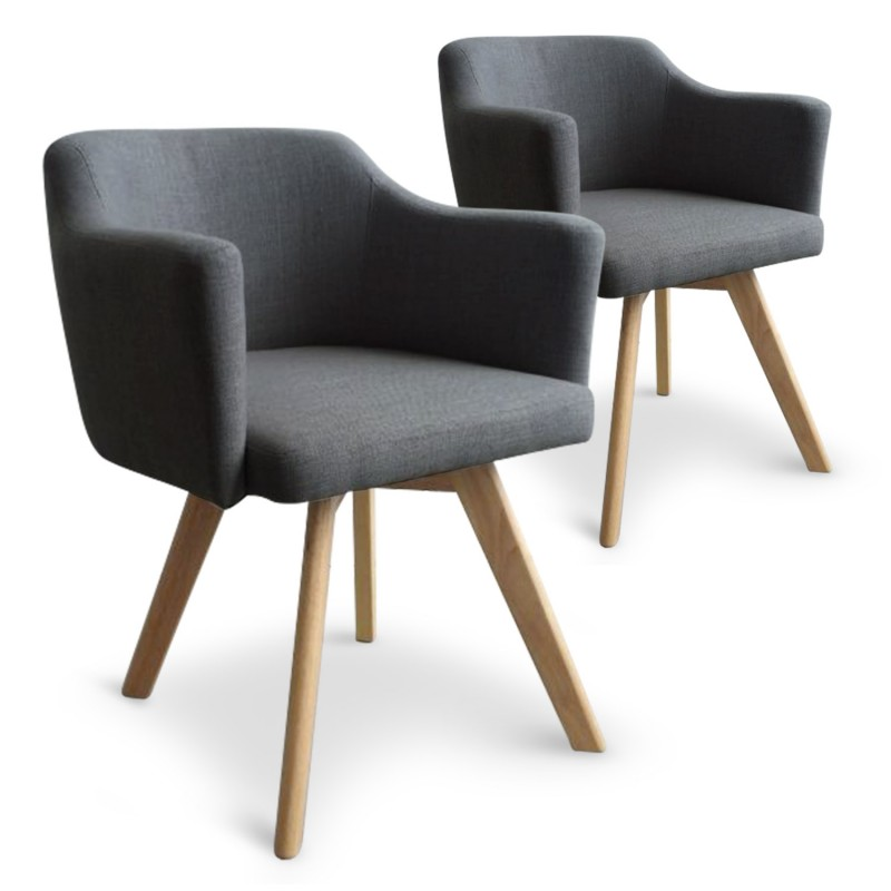 fauteuil scandinave gris en tissu rigo lot de 2 pas cher scandinave deco. Black Bedroom Furniture Sets. Home Design Ideas