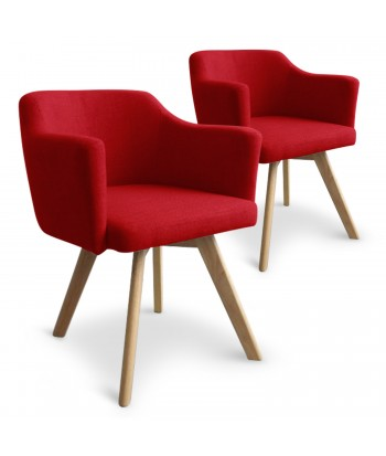Fauteuil Scandinave rouge en tissu Rigo - Lot de 2