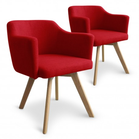 fauteuil scandinave rouge en tissu rigo lot de 2 pas. Black Bedroom Furniture Sets. Home Design Ideas