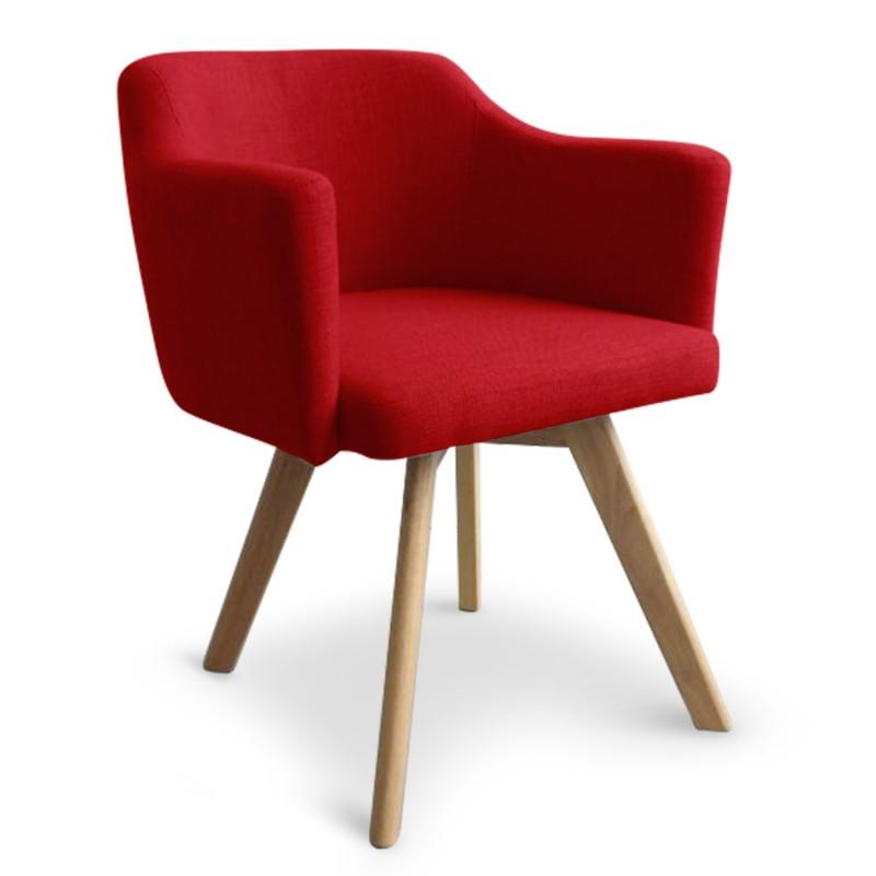 fauteuil scandinave rouge en tissu rigo lot de 2 pas cher scandinave deco. Black Bedroom Furniture Sets. Home Design Ideas