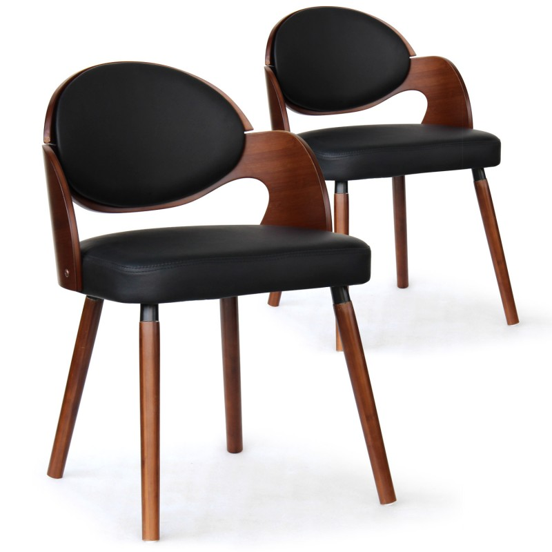 chaise scandinave noir et bois manu lot de 2 pas cher scandinave deco. Black Bedroom Furniture Sets. Home Design Ideas