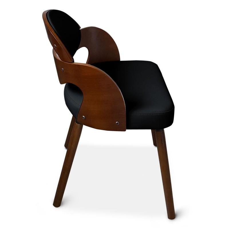 Chaise scandinave noir et bois manu lot de 2 pas cher for Chaise bois noir