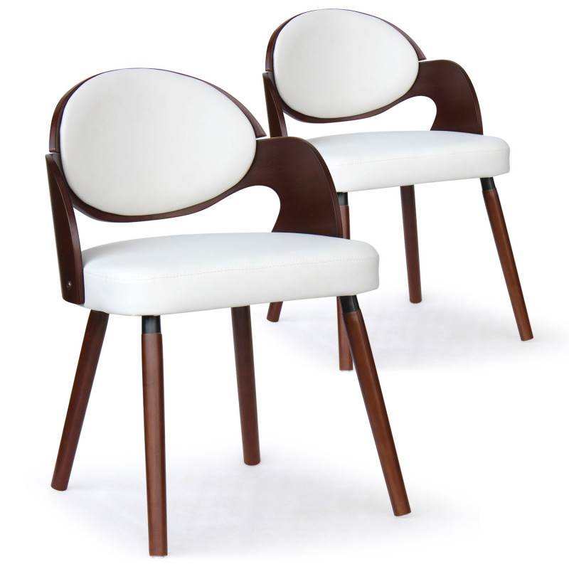 chaise scandinave bois et blanc manu lot de 2 pas cher. Black Bedroom Furniture Sets. Home Design Ideas