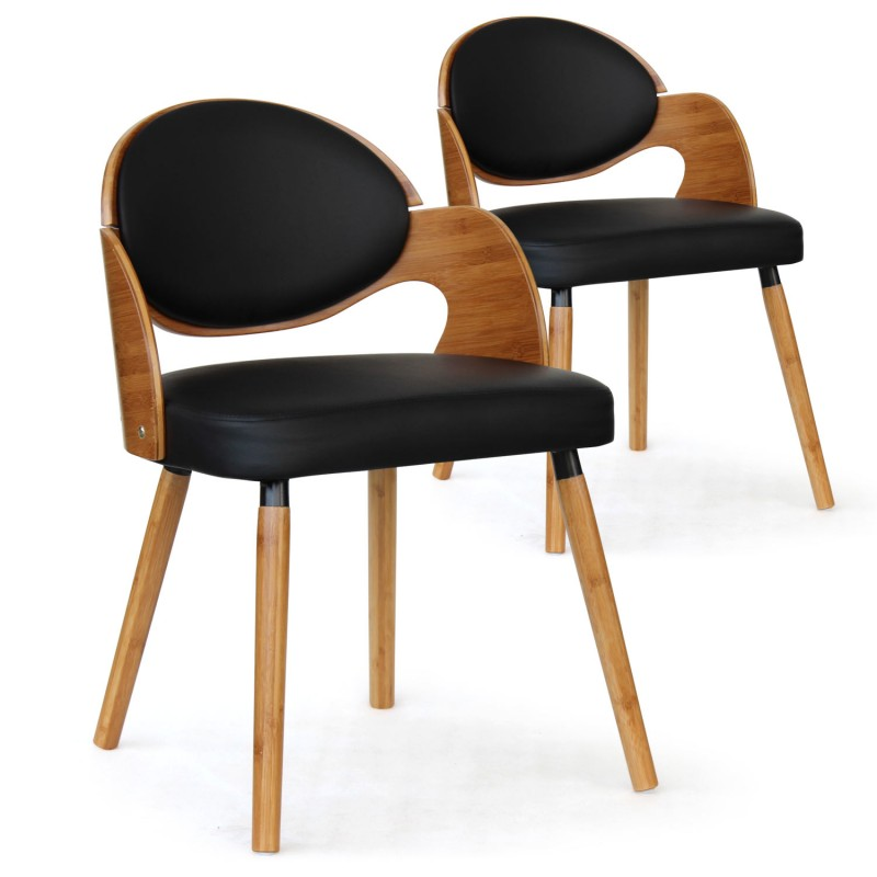 chaise scandinave ch ne clair et noir manu lot de 2 pas. Black Bedroom Furniture Sets. Home Design Ideas