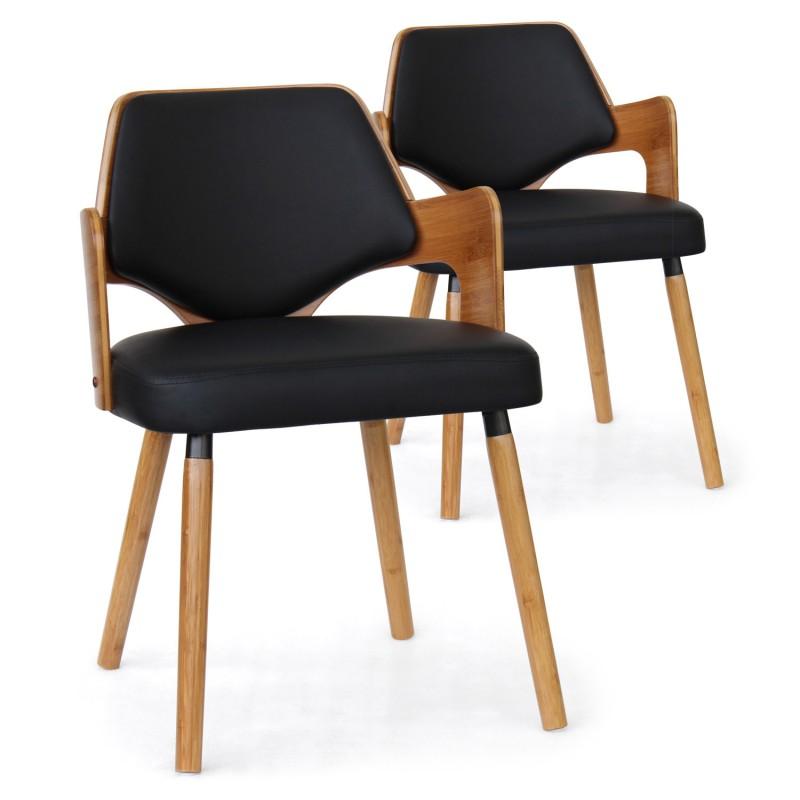 chaises scandinave simili cuir noir mias lot de 2 pas. Black Bedroom Furniture Sets. Home Design Ideas