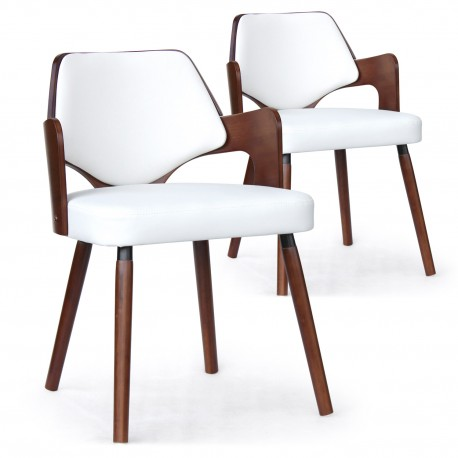 Chaises scandinave simili cuir gris mias noisette et blanc for Chaise scandinave cuir