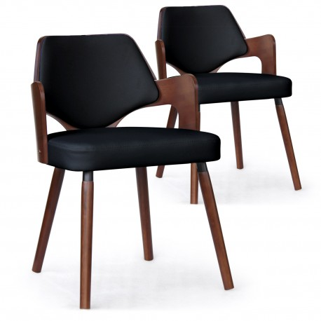 Chaises scandinave Simili Cuir Noisettes Mias - Lot de 2