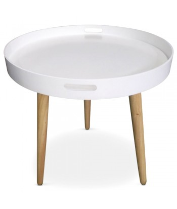 Table d'appoint ronde scandinave Blanc