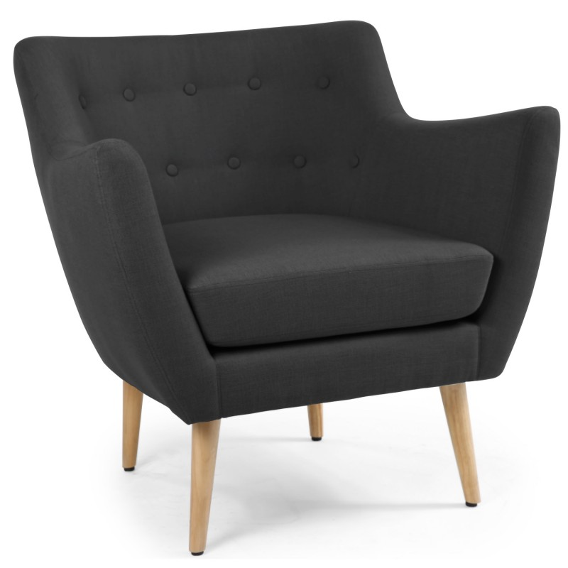 fauteuil scandinave stuart tissu noir pas cher scandinave deco. Black Bedroom Furniture Sets. Home Design Ideas