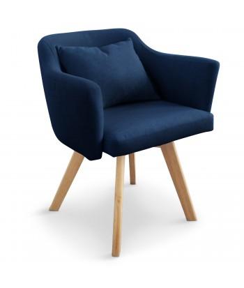 Fauteuil scandinave Rigo Tissu Bleu