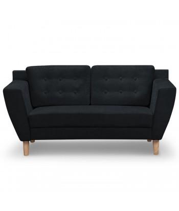 Canapé 2 places Scandinave Vintage Tissu Noir pas cher