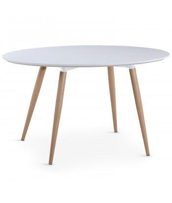 Table salle à manger scandinave Blanche ronde pas cher