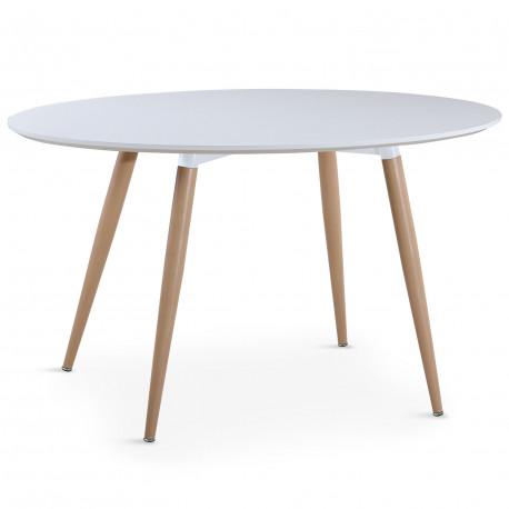 Table salle à manger scandinave Blanche ronde pas cher - Scandinave Deco