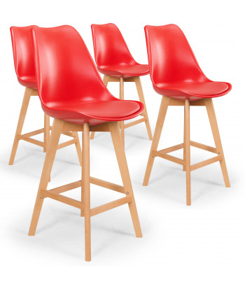 Lot de 4 chaises hautes scandinaves Ericka Rouge pas cher
