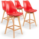 Lot de 4 chaises hautes scandinaves Ericka Rouge