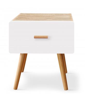 Table de chevet scandinave 1 tiroir Chêne clair et Blanc pas cher