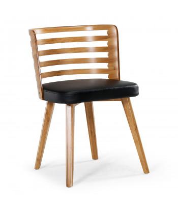 Lot de 2 chaises scandinave Alaon bois naturel et Noir pas cher