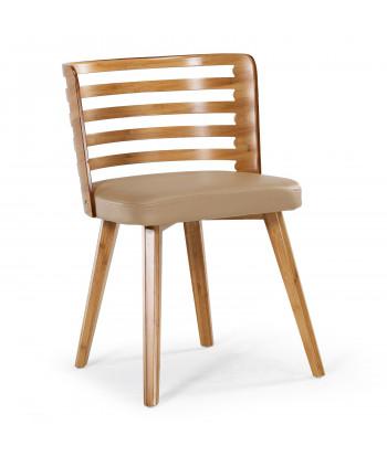 Lot de 2 chaises scandinave Alaon bois naturel et Crème pas cher
