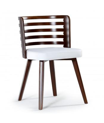 Lot de 2 chaises scandinave Alaon bois noisette et Blanc pas cher