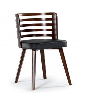 Lot de 2 chaises scandinave Alaon bois noisette et Noir pas cher