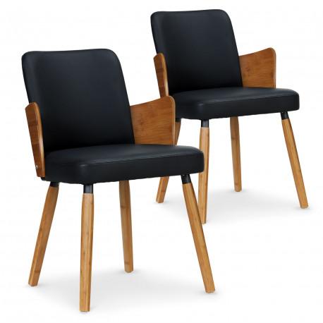 Lot de 2 chaises scandinaves Kuggle bois naturel et Noir pas cher