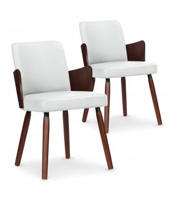 Lot de 2 chaises scandinaves Kuggle bois noisette et Blanc pas cher