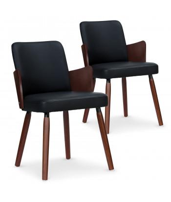 Lot de 2 chaises scandinaves Kuggle bois noisette et Noir pas cher