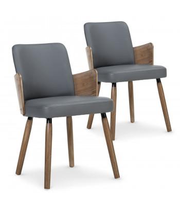 Lot de 2 chaises scandinaves Kuggle Vintage Gris pas cher