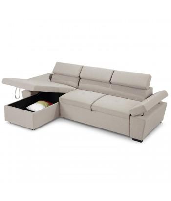 Canapé d'angle convertible avec coffre de rangement Tissu Beige pas cher