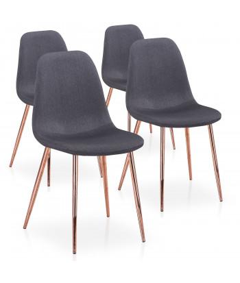 Lot de 4 chaises scandinaves Ericka Tissu Gris pieds Or Rose pas cher