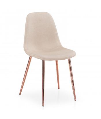 Lot de 4 chaises scandinaves Ericka Tissu Beige pieds Or Rose pas cher