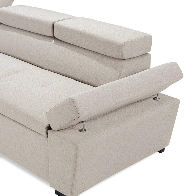 Canapé D Angle Convertible Avec Coffre De Rangement Tissu Beige Pas