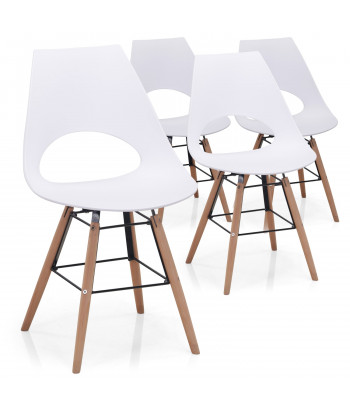Lot de 4 chaises scandinaves Marty Blanc pas cher