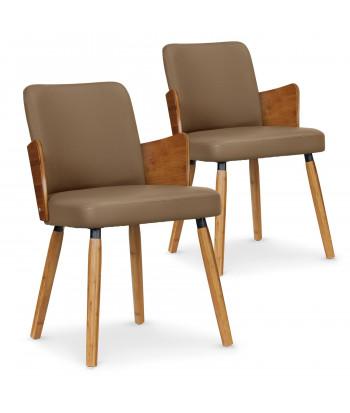Lot de 2 chaises scandinaves Kuggle Naturel et Taupe pas cher