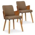 Lot de 2 chaises scandinaves Kuggle Naturel et Taupe