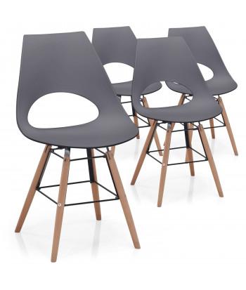 Lot de 4 chaises scandinaves Marty Gris foncé pas cher