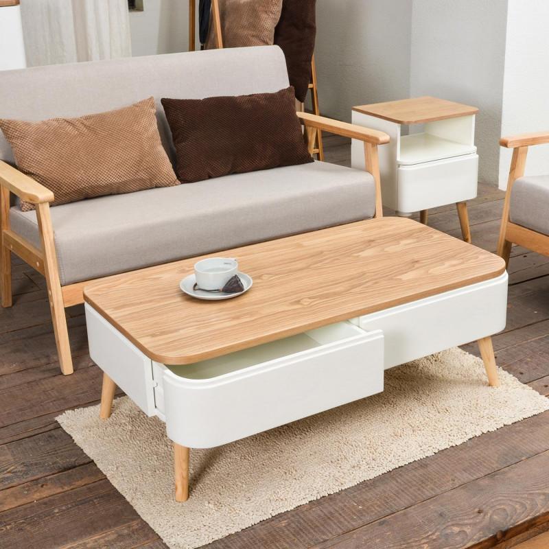 Table Basse En Bois Pas Cher.Table Basse Scandinave Blanc Et Bois