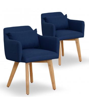 Lot de 2 fauteuils scandinaves Mels Tissu Bleu pas cher
