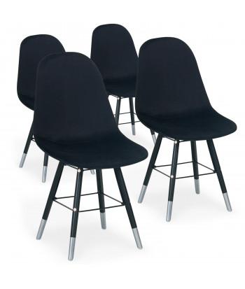 Lot de 4 chaises scandinaves Velours Noir - Ronn pas cher
