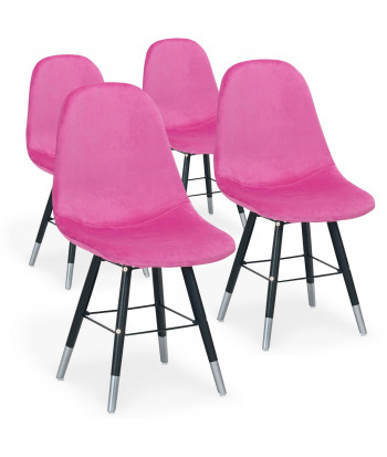 Lot de 4 chaises scandinaves Velours Rose - Ronn pas cher