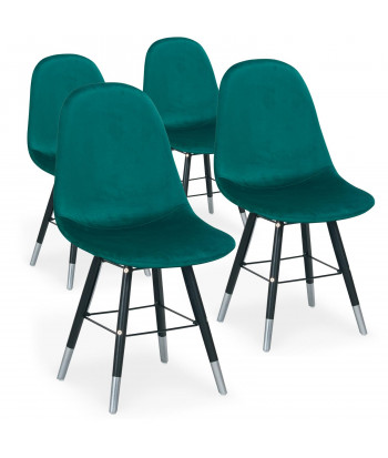Lot de 4 chaises scandinaves Velours Vert - Ronn pas cher