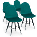 Lot de 4 chaises scandinaves Velours Vert - Ronn