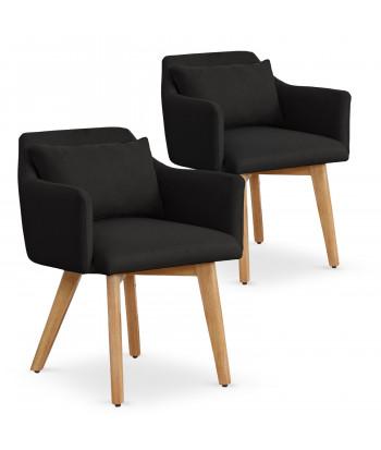 Lot de 2 fauteuils scandinaves Mels Tissu Noir pas cher
