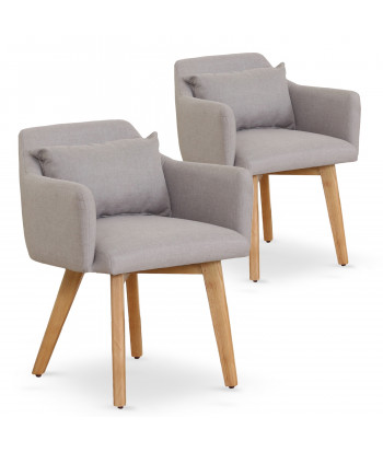 Lot de 2 fauteuils scandinaves Mels Tissu Beige pas cher